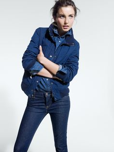 J.Crew chambray shirt.  Also one of my staple outfits - denim on denim