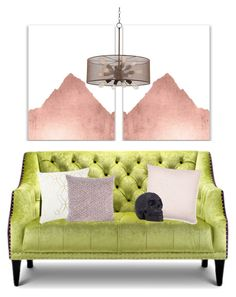 """Chartreuse Couch"" by cherieaustin ❤ liked on Polyvore featuring interior, interiors, interior design, home, home decor, interior decorating, Elise & James Home and Possini Euro Design"