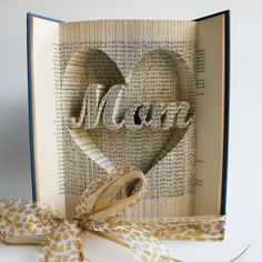 Mom in Heart Mothers Day Book Folding Pattern by LoveBookFolding
