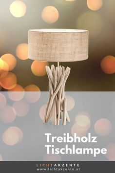 """Die Landhaus Tischleuchte mit runden Lampenschirm und Treibholzfuß findest du bei Lichtakzente.at. Die Tischlampe """"Driftwood"""" trägt zur gemütlichen Beleuchtung im Esszimmer, Wohnzimmer, Schlafzimmer, Flur oder in einem Hotelzimmer bei. Lampe Tisch, Tischleuchte aus Treibholz // #leuchte #wohnen #beleuchtung #licht #interiordesign #lampen und leuchten #lichtakzente Interiordesign, Driftwood, Lighting, Home Decor, Modern Light Fixtures, Decoration Home, Light Fixtures, Room Decor, Drift Wood"""