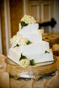 Simple square wedding cake. Traditional Southern pound cake with buttercream icing. Photo by Altered Images by Heather