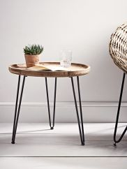 Carved from firwood with a natural finish that boasts exposed wood grain details, our simple round table has three hairpin grey iron legs. This simple, rustic table is perfect for beside your favourite arm chair and also looks great beside you Retro Dining Chairs, Table And Chairs, Dining Table, Console Table, Side Table Decor, Small Round Side Table, Small Tables, Metal Furniture, Table Furniture