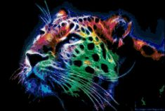 Fractal Tiger Cross Stitch Printable Needlework Pattern - DIY Crossstitch Chart, Relaxing Hobby, Instant Download PDF Design