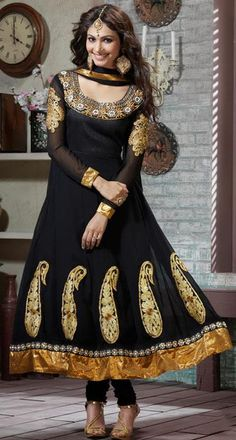 $83.28 Black Faux Georgette Embroidered Long Anarkali Style Salwar Suit 24218