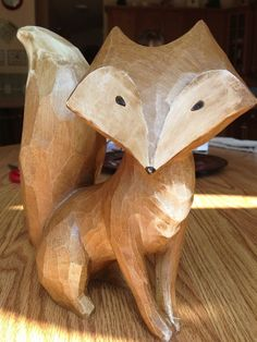 wood sculpted fox - Google Search
