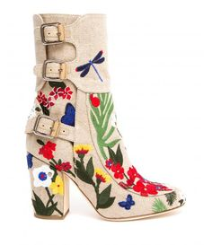 Embroidered canvas covered stacked heels;