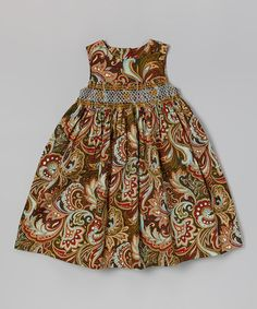 This Green Paisley Maggie Peggy Smocked Dress - Girls is perfect! #zulilyfinds