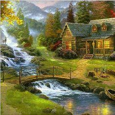 DIY 5D Diamond Painting Cross Stitch Cabin River Bridge Embroidery Home Decor