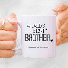 """gifts for bother """"world's best brother"""" mug, christmas gifts for him, uncle pregnancy announcement,baby announcement gifts for brother MU503 by artRuss on Etsy"""