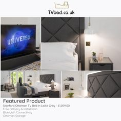 For those asking for a statement bed offering style, huge storage, and a big TV... look no further! 👀 - Check this bed out online now! 😁 Tv Bed Frame, Cosy Bed, Tv Beds, Large Tv, Product Offering, Bed Storage, Bed Sizes, Grey Fabric, Mattress