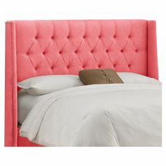 Diamond-tufted wingback headboard with pine wood frame. Handmade in the USA.  Product: HeadboardConstruction Material: Pine, metal, linen and polyurethane foamColor: CoralFeatures:  Modern wingback headboardHandmade in the USADiamond-tufting and nailhead accents Dimensions: Full: 60.5'' W x 55.5'' H x 10'' DQueen: 66.5'' W x 55.5'' H x 10'' DKing: 82.5'' W x 55.5'' H x 10'' DCalifornia King: 78.5'' W x 55.5'' H x 10'' DNote: Assembly required. Includes headboard onlyCleaning and Care: Spot…