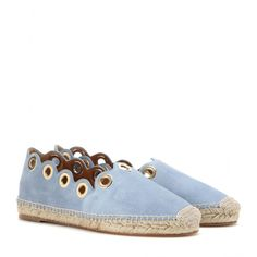 Chloé - Embellished suede espadrilles - The espadrille is the must-have shoe of the summer season. Chloé combines butter-soft suede with a scalloped edge and gold-tone eyelet embellishment for a true look of luxe, and completes the design with a natural woven sole and toecap. - @ www.mytheresa.com