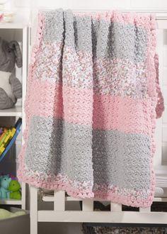Ravelry: Pebble Baby Blanket pattern by Premier Yarns Design Team Crochet Baby Blanket Beginner, Baby Girl Crochet Blanket, Bernat Baby Blanket, Knitted Baby Blankets, Crochet Baby Booties, Baby Knitting, Baby Afghans, Small Blankets, Beginner Crochet