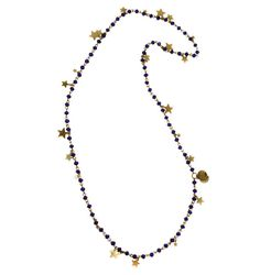 Midnight Blue Haze - hand made mini glass rosary chain with a sprinkling of golden stars