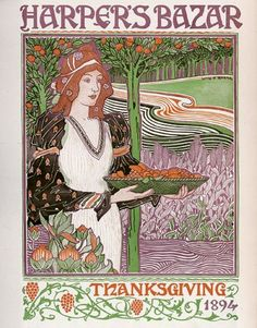 The wonderfully lovely, vibrantly hued cover of the November, 1894 issue of Harper's Bazaar magazine. #Victorian #1800s #magazine #cover #art #illustration