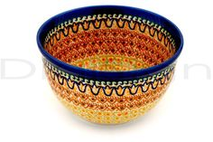 Bright and sunny Polish pottery stoneware bowl. Imagine your Cornflakes in this!