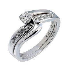 9ct White Gold Third Carat Diamond Twist Bridal Ring Set