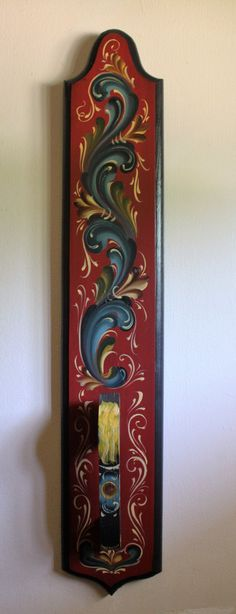 Norwegian Rosemaling in Telemark Style on a Wooden Mangle Board by Folkartbycathy on Etsy