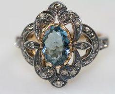 Edwardian Aquamarine Diamond Ring...SO AMAZING!! I <3 this ring Antique Rings, Vintage Rings, Antique Jewelry, Vintage Jewelry, Antique Necklace, Handcrafted Jewelry, Vintage Style, Antique Jade, Antique Metal