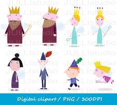 Image of an original illustration done in digital graphic drawing. You get 8 Individual files: Holly Ben Nanny Plum Queen Thistle and others. Fourth Birthday, 3rd Birthday Parties, Ben N Holly, Ben And Holly Party Ideas, Clipart Png, Crafts For Kids, Arts And Crafts, Kids Shows, Wool Felt