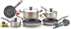 #kitchen The #T-fal Metallic Cookware collection is a sleek, high-quality collection that features a beautiful bronze metallic non-stick exterior coating and glo...