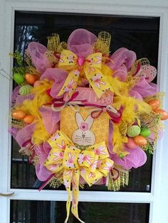 Easter Deco Mesh Wreath by WreathsEtc on Etsy, $125.00