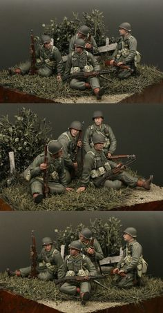 WWII soldiers at rest diorama. Tamiya Model Kits, Tamiya Models, Military Action Figures, Ww2 Pictures, Military Modelling, Tank Riders, Miniature Figurines, Model Ships, Military Art