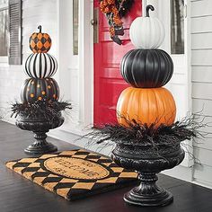 Halloween Stacked Solid Pumpkins - paint craft pumpkins from Michaels