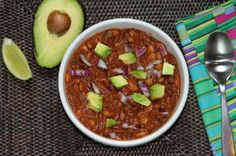 Vegan chili made with chocolate and beer.
