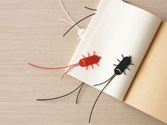 The Smily Cockroaches Funny Bookmark book mark page holder 2pcs - Red & Black on Etsy, $10.99