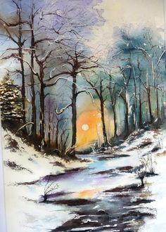 Paysage hivernal (Encadré) - Peinture,  50x70 cm ©2013 par Pierre Patenet -                                                            Art figuratif, Papier, Paysage, Aquarelle, Oeuvre, Peinture, Art, Hiver, Neige, Paysage, Forêt