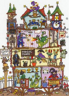 It's all things hocus pocus, and the mythical to the extraordinary in this Magic School cross stitch kit from the Cut Thru' series by Amanda Loverseed.
