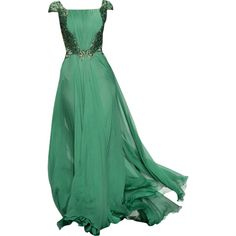 Abed Mahfouz - edited by mlleemilee ❤ liked on Polyvore featuring dresses, gowns, long dresses, vestidos, vestidos largos, green evening dress, green dress, long green evening dress and green gown