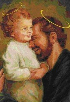 Jesus Christ and Joseph Catholic Art, Catholic Saints, Religious Art, St Joseph Catholic, Pictures Of Jesus Christ, Religious Pictures, Happy Feast Day, St Joseph Feast Day, Saint Joseph Day