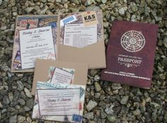 Bespoke vintage destination passport leather wallets created with leather effect cardstock