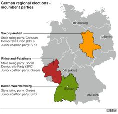 "••Merkel's last term faces Test in German regional elections•• 2016-03-13 BBC • Merkel's ""open door"" refugee policy faces test in 1st 3 regional elections (home states of Germany's 3-party coalition: CDU / SPD / Greens) + new AfD (anti-immigration Alternative for Germany party) • EU nations took less than 30k vs 1M+ in De in 2015! • AfD is already in 5/16 regional parliaments • De Vice-Chancellor Sigmar Gabriel: no AfD gains will break De's humanity & solidarity"