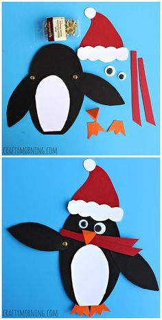 Moveable Christmas Penguin Craft for Kids - Crafty Morning penguin kid craft Preschool Christmas, Christmas Activities, Craft Activities, Preschool Crafts, Craft Kids, January Crafts, Penguin Craft, Winter Crafts For Kids, Christmas Crafts For Children