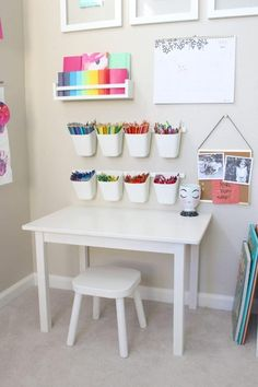 playroom art station is giving us all the toddler art goals! This playroom art station is giving us all the toddler art goals! - This playroom art station is giving us all the toddler art goals! Baby Playroom, Playroom Art, Playroom Design, Children Playroom, Kids Room Design, Playroom Table, Small Playroom, Colorful Playroom, Kids Bedroom Designs