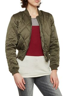 Quilted Bomber Jacket in Cropped Fit,OLIVE
