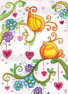 ACEO Print - The Sweetheart Tree - birds love Spring flowers art card