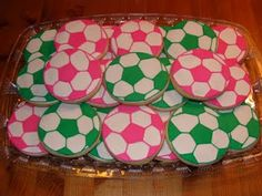 colourful soccer cookies