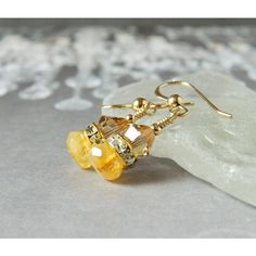 Citrine Earrings Grade AAA Golden Shadow Swarovski Crystal Yellow... (€34) ❤ liked on Polyvore featuring jewelry and earrings