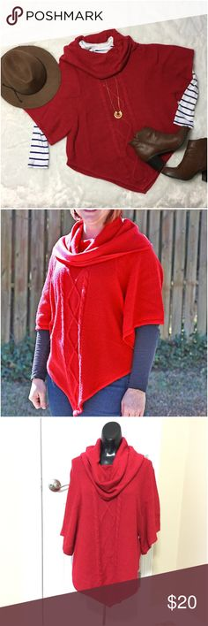 Red knit cowl neck poncho Measures 27 inches long in back and 23 in front, measurements do not include cowl neck top. 100% acrylic machine wash. new directions Sweaters Shrugs & Ponchos