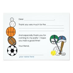 Sports Balls Birthday Party Thank you note 5x7 Paper Invitation Card