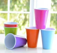 Glitterville Reusable Melamine Kids Cups / Glasses, 4.75 Inches, Set of 6 by 180 Degrees. $24.99. Made of Melamine which is washable and reusable. Made to look like traditional plastic cups but they are not plastic.. Matching plates available.. Includes a set of 6 cups - one of each color:  pink, blue, green, orange, red & purple. Measures: 4.75 inch tall. Dishwasher safe. Not microwaveable. An Eco-friendly alternative to the traditional disposable plastic cup...