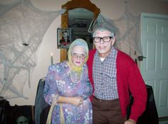 Were really not old.....This was a great costume idea and very cheap to do, Thrift store clothing and make-up!