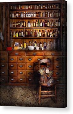 - Just The Usual Selection Acrylic Print by Mike Savad Cabinetry/drawers + apothecary bottles. Apothecary Decor, Apothecary Cabinet, Apothecary Bottles, Jars Decor, Rustic Furniture, Furniture Decor, Curiosity Cabinet, Witch Room, Vintage Industrial Decor