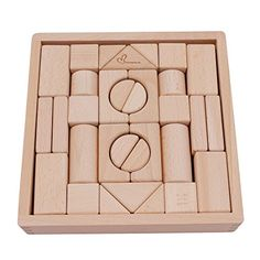 GYBBER&MUMU 32 Pieces Wooden Building Blocks Set GYBBER&MUMU