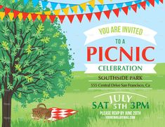 Summer Picnic And BBQ Invitation Flyer Or Template. Text Is On Its.