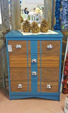 Antique Recreation: Aubusson Blue Dresser with Stripe
